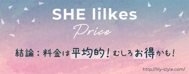 SHElikes(シーライクス)の料金は、高いのか?結論:平均的!むしろお得かも!